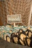 Miesmuschelmeeresfrüchte auf Eis für Buffet stockfotos