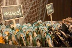 Miesmuschelmeeresfrüchte auf Eis für Buffet stockbild
