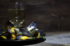 Miesmuscheln mit Glas Weißwein und Thymian Lizenzfreie Stockfotografie
