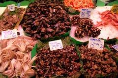 Miesmuscheln und essbare Meerestiere auf Nahrungsmittelmarktperspektive Lizenzfreie Stockbilder