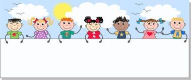 mieszający etniczni dzieciaki ilustracja wektor