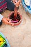 Mieszający składniki używać w tradycyjnym Tajlandzkim gorącym przemoczeniu Fotografia Stock
