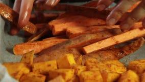 Mieszający warzywa z pikantność i nalewać oliwę z oliwek dla guacamole z vegies przepisem zbiory wideo