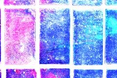 Mieszana medialna grafika, abstrakcjonistyczna kolorowa artystyczna malująca warstwa w błękicie, menchia, purpurowa kolor paleta  ilustracja wektor