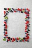 Mieszane jagody kształtować jako rama na łupkowym tle Obraz Royalty Free