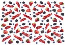 Mieszanek owoc na białym tle i jagody Dojrzałe czarne jagody, czernicy, truskawki i czerwoni rodzynki, Odgórny widok Błękitny obrazy stock