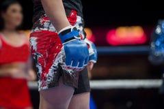 Mieszani wojenni wojownicy z powodu areny podczas rywalizacji MMA myśliwska walka na podłoga pierścionku zdjęcia royalty free