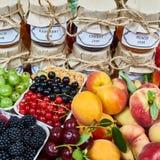 Mieszanka dżemy i owoc Zdjęcie Stock
