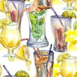 Mieszanka lato koktajli/lów baru przyjęcia napój Klub nocny ikony nakreślenia odosobniony rysunek Bezszwowy tło wzór Obraz Stock