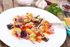 Mieszanka warzywa z pieczarki mun, flance soje w śliwkach Obrazy Royalty Free