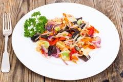 Mieszanka warzywa z pieczarki mun, flance soje w śliwkach Zdjęcie Royalty Free