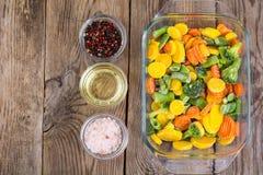 Mieszanka zamarznięci warzywa w szkle Obrazy Royalty Free
