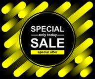 Mieszanki żółtej linii tło Abstrakcjonistyczny modny wzór dla plakatowego projekta Specjalna sprzeda? Tylko oferta dzisiaj royalty ilustracja