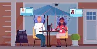 Mieszanki rasy pary siedzącej kawiarni stołowy dyskutować podczas spotkanie klientów rozpoznania tożsamościowego twarzowego pojęc ilustracji