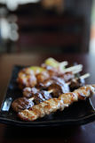 Mieszanki yakitori kurczak i wieprzowina Zdjęcia Stock
