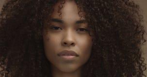 Mieszany biegowy murzynka portret z dużym afro włosy, kędzierzawy włosy Zdjęcia Stock
