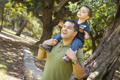 Mieszany Biegowy syn Cieszy się Piggyback w parku z tata Zdjęcia Royalty Free
