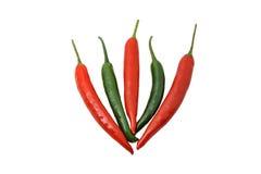 Mieszany chili stosu zieleni i rewolucjonistki chili Zdjęcia Stock