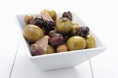 Mieszany oliwki antipasto w naczyniu Obrazy Royalty Free