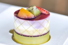 Mieszany owoc tort lub owoc brzoskwini i kiwi zasychamy Obraz Stock