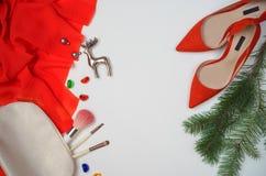 Mieszkań nieatutowi żeńscy eleganccy akcesoria fasonują strój ustawiającego: elegancki płótno, butów kosmetyków kolczyki rozgałęz obrazy royalty free