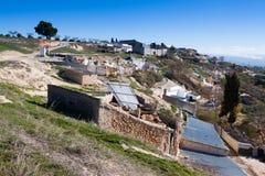 Mieszka jamy budowali w skałę Cortes de Baza Zdjęcia Royalty Free