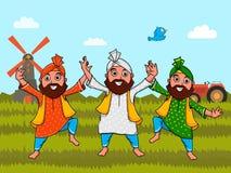 Mieszkanów Pendżabu mężczyzna dla Indiańskiego dnia niepodległości royalty ilustracja