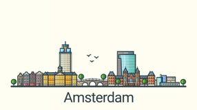 Mieszkania Amsterdam kreskowy sztandar Zdjęcie Stock