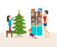 Mieszkania czyścą i narządzanie dla nowego roku ilustracji