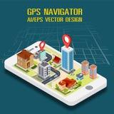 Mieszkania 3d GPS nawigaci isometric mobilne mapy Zdjęcie Stock