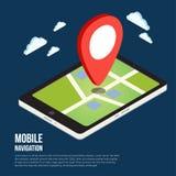 Mieszkania 3d GPS nawigaci isometric mobilne mapy Zdjęcia Royalty Free