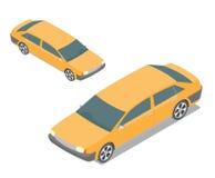 Mieszkania 3d isometric żółty samochód osobowy na bielu budowa Fotografia Royalty Free