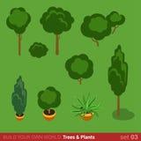 Mieszkania 3d isometric drzewa, krzaki, zasadzają ikona set Zdjęcia Royalty Free
