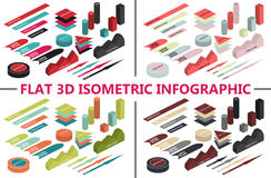Mieszkania 3d isometric infographic dla twój biznesowych prezentacj kolorowe ikony 4 koloru tematu Fotografia Stock
