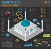 Mieszkania 3d isometric islamski miasto i meczet kartografujemy konstruktora eleme Fotografia Stock