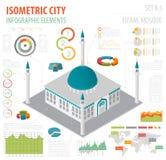 Mieszkania 3d isometric islamski miasto i meczet kartografujemy konstruktora eleme ilustracji