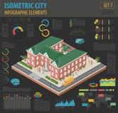 Mieszkania 3d isometric miasto i szkoła kartografujemy konstruktorów elementy taki royalty ilustracja