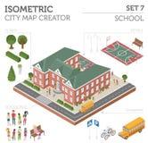 Mieszkania 3d isometric miasto i szkoła kartografujemy konstruktorów elementy taki ilustracji