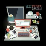 Mieszkania 3d isometric nocy biurowa rutynowa ilustracja Obrazy Stock