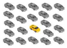 Mieszkania 3d Isometric Samochodowy taxi royalty ilustracja