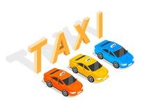 Mieszkania 3d Isometric Samochodowy taxi ilustracji