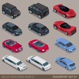 Mieszkania 3d miasta drogowego transportu ikony isometric set Fotografia Stock