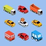 Mieszkania 3d miasta Isometric Wysokiej Jakości transport ilustracja wektor