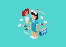 Mieszkania 3d pojęcia isometric sieci pielęgniarki infographic medyczna lekarka Obraz Stock