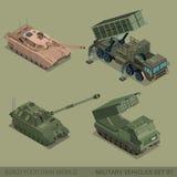 Mieszkania 3d pojazdów wojskowych ikony isometric wysokiej jakości set Zdjęcie Royalty Free