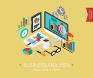 Mieszkania 3d projekta pojęcia isometric sieci biznesowa analiza Obrazy Stock