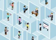 Mieszkania 3d różnorodności fachowego pojęcia isometric ludzie biznesu Zdjęcia Royalty Free