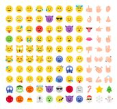 Mieszkania emoji emoticon ikony stylowy set royalty ilustracja