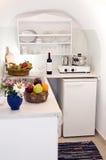 mieszkania grecka wyspy kuchni willa Zdjęcia Stock