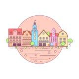 Mieszkania miasta krajobrazu Kreskowa ikona, strona internetowa elementów Miastowy krajobraz układ Zdjęcie Stock